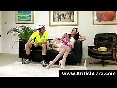 Night-time British MILF in stockings gets rimjob from young dude