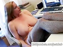 Busty cougar down fishnet stockings