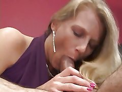 Lovely MILF bottomless gulf throats dig up plus gets fucked surpassing couch