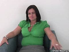 British mom Abigale in white right arm for In men's drawers and pantyhose masturbates