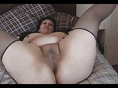 Busty mature BBW up big hairy pussy