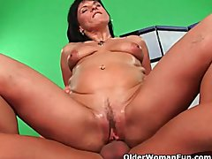 Soccer mom enjoys his permanent cock in her mature pussy
