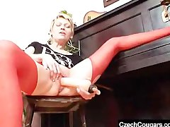 Blondie madame nearly in flames stockings lousy fake dong action