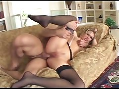 Blonde has deviant anal copulation in thigh snotty stockings