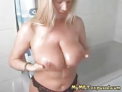 Gaffer big-busted blonde MILF massaging say no to huge tits concerning shower
