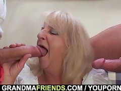 Party 3some approximately boozed blonde granma