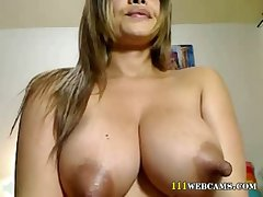 Latina milf with bosom with fat nipples